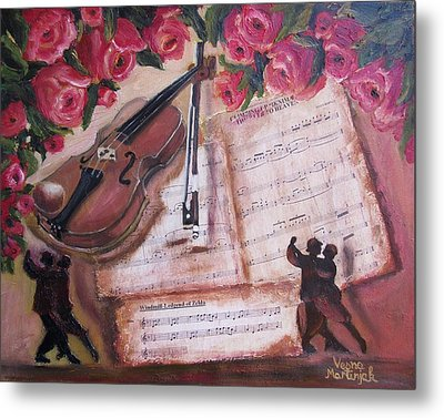 Music And Roses Metal Print by Vesna Martinjak
