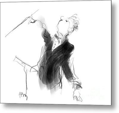 Music Conductor Sketch Metal Print