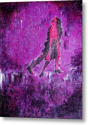 Music Inspired Dancing Tango Couple In Purple Rain Contemporary Lyrical Splattered And Emotional Metal Print by M Zimmerman