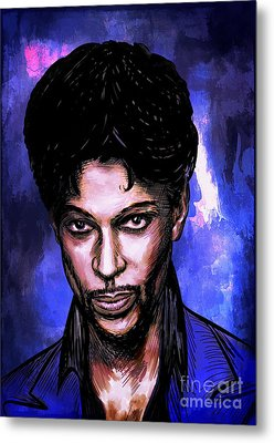 Metal Print featuring the painting Music Legend  Prince by Andrzej Szczerski