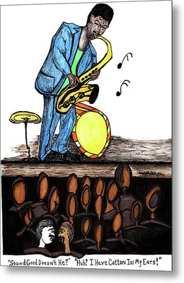 Music Man Cartoon Metal Print