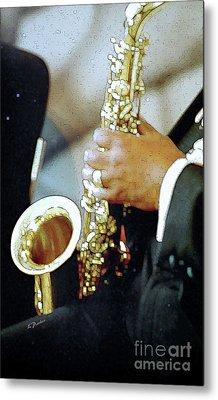 Music Man Saxophone 1 Metal Print by Linda  Parker