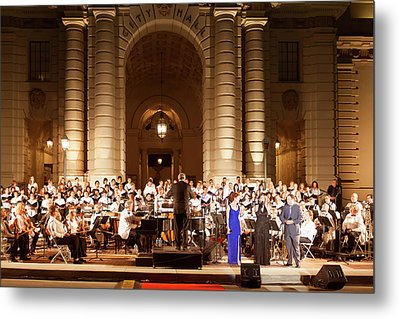 Metal Print featuring the photograph Music Under The Stars - Symphony At Pasadena City Hall California by Ram Vasudev