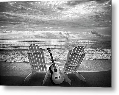 Musical Chairs In Black And White Metal Print