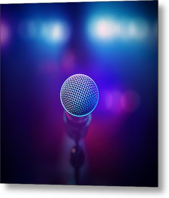 Musical Microphone On Stage Metal Print by Johan Swanepoel
