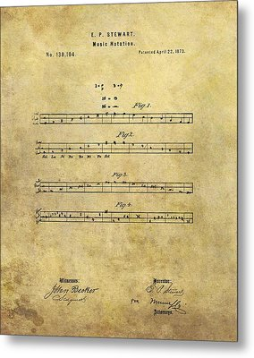 Musical Notation Patent Metal Print by Dan Sproul