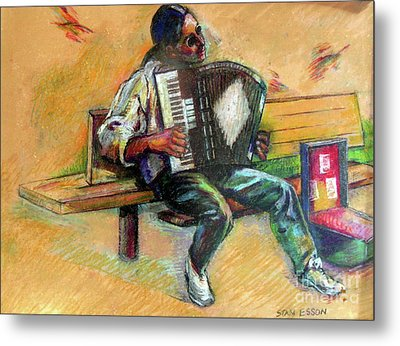 Musician With Accordion Metal Print by Stan Esson