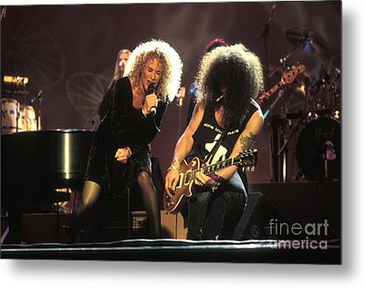 Musicians Carol King And Slash Metal Print by Concert Photos