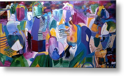 Metal Print featuring the painting Musicians by Sima Amid Wewetzer