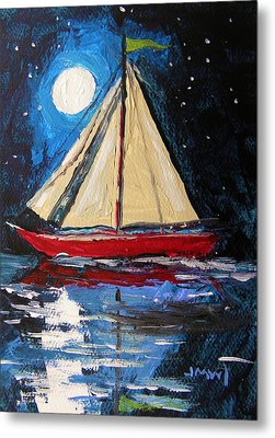 Musing-midnight Sail Metal Print by John Williams