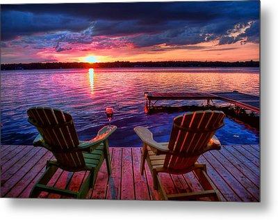 Muskoka Chair Sunset Metal Print