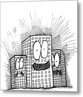 Mustachio Buildings Metal Print by Karl Addison