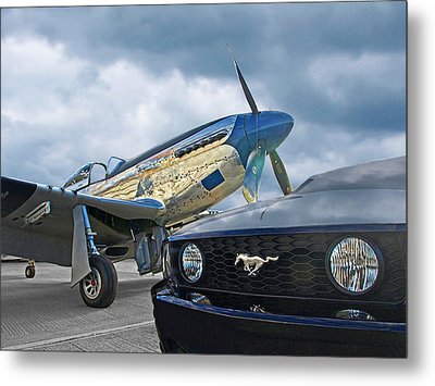 Mustang Gt With P51 Metal Print by Gill Billington