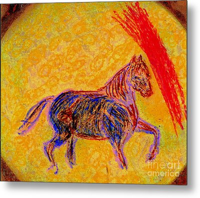 Mustang Stallion Metal Print by Richard W Linford