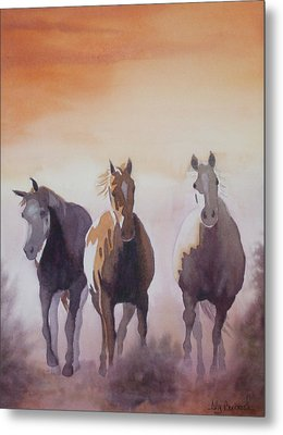 Mustangs Out Of The Fire Metal Print by Ally Benbrook