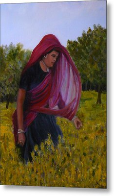 Mustard Fields Of India Metal Print by Betty Pimm