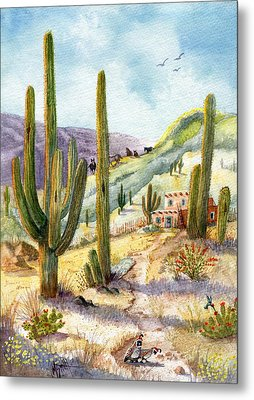 Metal Print featuring the painting My Adobe Hacienda by Marilyn Smith
