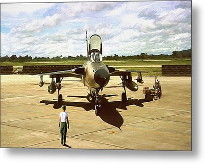 Metal Print featuring the digital art My Baby F-105 by Peter Chilelli