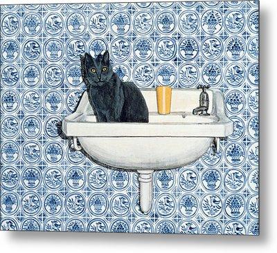 My Bathroom Cat  Metal Print
