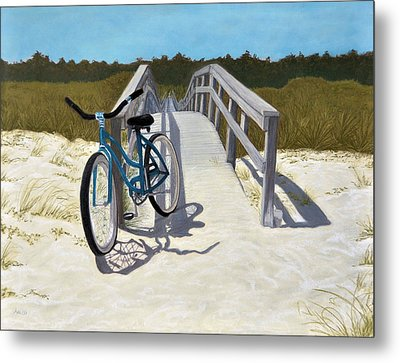 My Blue Bike Metal Print