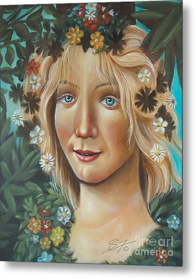 Metal Print featuring the painting My Botticelli by S G