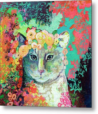 My Cat Naps In A Bed Of Roses Metal Print