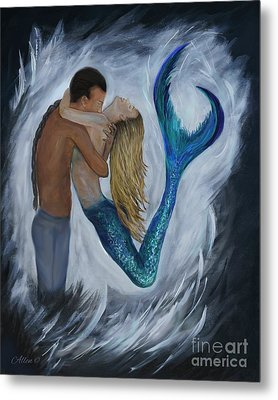 Metal Print featuring the painting My Dream Mermaid by Leslie Allen