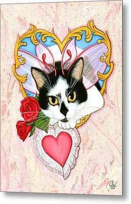 Metal Print featuring the painting My Feline Valentine Tuxedo Cat by Carrie Hawks