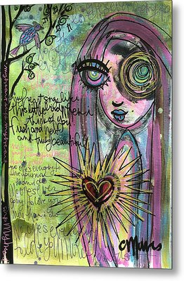 My Heart Sings Like This Little Bird Metal Print by Laurie Maves ART