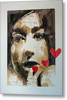 Metal Print featuring the painting My Hearts In My Mouth by P Maure Bausch