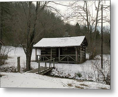 My Lil Cabin Home On The Hill In Winter Metal Print