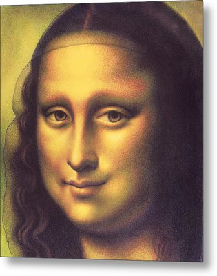Metal Print featuring the drawing My Mona Lisa by Donna Basile