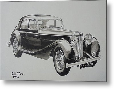 Metal Print featuring the drawing My Old Jag. by Mike Jeffries