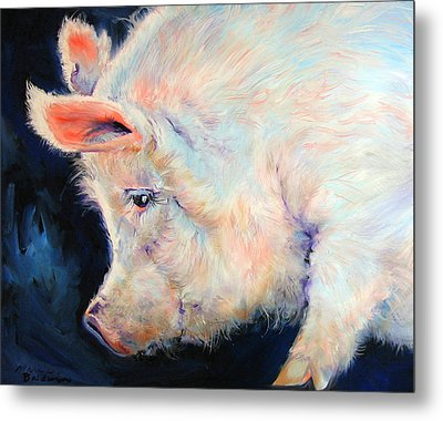 My Pink Pig  For A Lucky Day By M Baldwin Metal Print by Marcia Baldwin