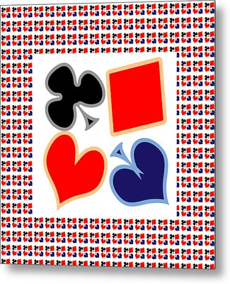My Poker Room Decorations  Heart Spade Clubs Diamond Card Games Collection Metal Print by Navin Joshi