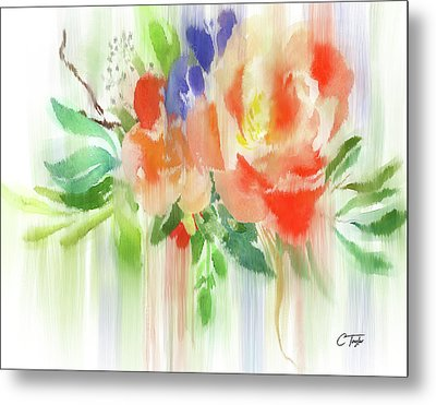 Metal Print featuring the painting My Roses Gently Weep by Colleen Taylor