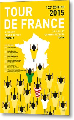 My Tour De France Minimal Poster Etapes 2015 Metal Print