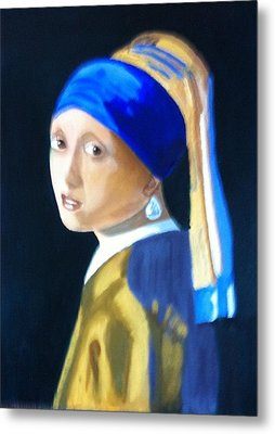 Metal Print featuring the painting My Version-girl With The Pearl Earring by Rod Jellison
