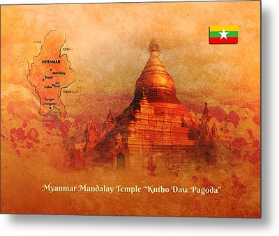 Metal Print featuring the digital art Myanmar Temple Kutho Daw Pagoda by John Wills