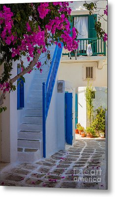 Mykonos Staircase Metal Print by Inge Johnsson