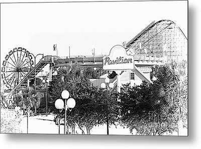 Myrtle Beach Pavillion Amusement Park Monotone Metal Print