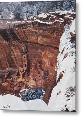 Mysterious City Of The Anasazi - Mesa Verde Metal Print by Barbara Barber
