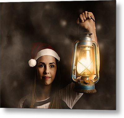 Mystery Woman On A Find And Seek Christmas Journey Metal Print