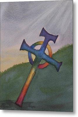 Mystical Celtic Cross Metal Print by Debbie Homewood
