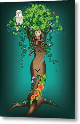 Mystical Maiden Tree Metal Print by Serena King