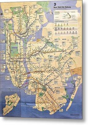 N Y C Subway Map Metal Print