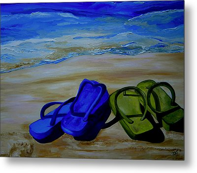 Naked Feet On The Beach Metal Print