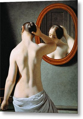 Naked In The Mirror Metal Print