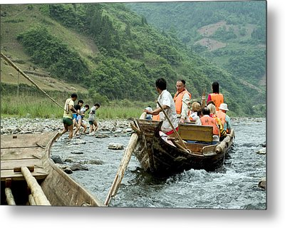 Naked Tracker Boatman Pulling Tourists Metal Print by Charles  Ridgway