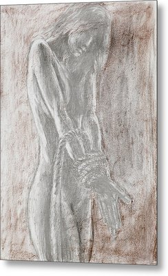 Naked Woman Tied With Rope Metal Print by Dan Comaniciu